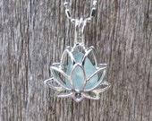 Sea Glass Lotus Flower Locket Aqua by Wave of LIfe