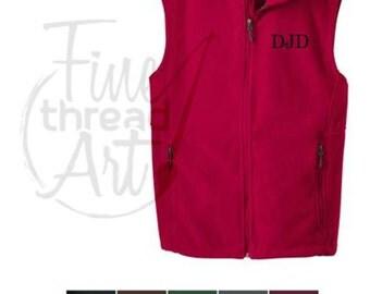 Men's Monogram Fleece Vest with Pockets Zip Up Layering Piece up to 6XL