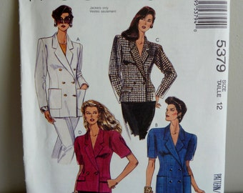 1991 McCall's Pattern 5379 - Misses' Lined or Unlined Jacket - Size 12 Uncut - Vintage 1990s Sewing Pattern
