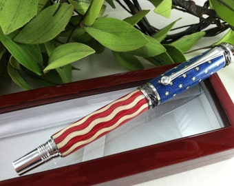 American Flag Wood Inlay Calligraphy Fountain Pen with a Swarovski Crystal Accent - FREE Engraving