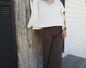 Fold Over Waist Wide Leg Yoga Pant in Cocoa and Black Bamboo Jersey Knit - Eco Friendly - Spring, Summer, Fall - Made to Order