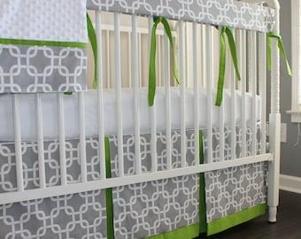 Gray & Lime green Gotcha Crib Rail Bedding set.