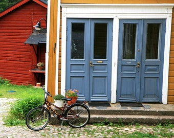 PRINT SALE 50% OFF - Country Home Decor - Bicycle Print - Bike Wall Art - Red Barn Art Finland Photography Door Photo Marigold Slate Blue