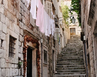 Laundry Room Decor - Dubrovnik Croatia Photography - Stepped Streets Photo Rustic Mediterranean Wall Art European Print Travel Photo