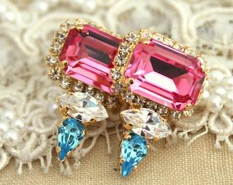 Swarovski Earrings,Pink Earrings,Pink Aqua Earrings,Gift for her,Geometric Earrings,Bridal Earrings,Pink Studs,Pave Earrings,Christmas Gift