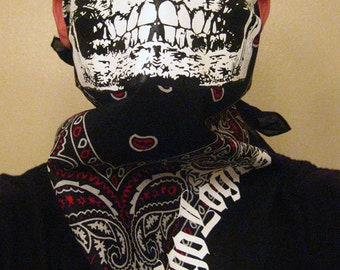 Red and White Paisley on Black bandana with white solid  half skull face bandit mask gaiter scarf wrap biker ski snowboard airsoft paintball