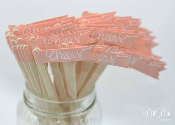 50 Coral Peach Paper Flag Stir Sticks or Drink Stirrers with White Calligraphy
