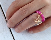 Pink Agate Ring, Stretch Beaded Ring, Gold Butterfly Charm, Stacking Ring, Dainty Ring, Gemstone Modern Ring, Pink Jewelry, One Size Ring
