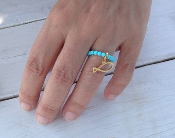 Turquoise Ring, Stretch Beaded Ring, Gold Fish Charm, Stacking Ring, Dainty Ring, Gemstone Modern Ring, Turquoise Jewelry, One Size Ring