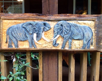 """Elephants with distressed wood frame 40"""" original chainsaw elephant carving rustic fine art home decor wall mount detailed centerpiece"""