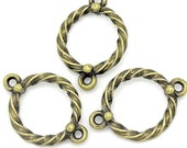 10 Circle Charm  Connectors Antique Bronze Tone 2 Sided - BC865