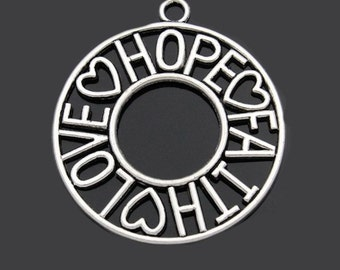 Huge Faith Hope Love Charm Antique  Silver Tone - SC2506