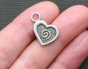 10 Heart Charms Antique  Silver Tone with Swirlc Design - SC2736