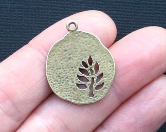 6 Tree Charms Antique Bronze Tone Beautiful Cut Out Details  - BC891