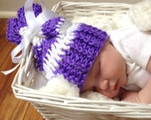Purple and white Sleeve hat...in size newborn-photography prop- winter hat