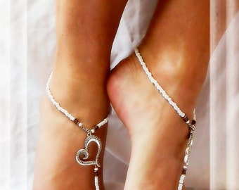 Southwestern Heart Barefoot Sandals White Beach Sandals Foot Jewelry Shoeless Sandals