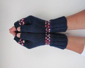 Fingerless Mittens Texting Gloves Navy Red White Hand Knit