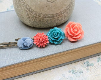 Flower Bobby Pins Teal Blue Rose Coral Peach Lady Face Cameo Modern Hair Accessories Dahlia Floral Hair Pins Bright - Set of Four (4)