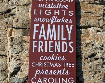 Custom Sign - Christmas sign, things of the Holidays, Family Friends Christmas Tree Presents Snowflakes - wood sign, subway sign