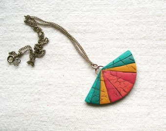 Modern oriental fan pendant necklace geometric polymer clay faux leather pendant necklace turqoise blue teal sunny yellow warm pink rainbow