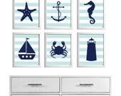 Beach Nursery Art Stripes Ocean Seaside Blue Navy more colors available set of 6