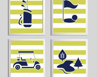Golf Sports Nursery Boy Girl Navy Citron Stripes more colors available set of 4
