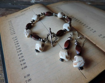 Blood And Bone Bracelet and Earring Set - Red Jasper, Hematite and Glass and Howlite Skulls