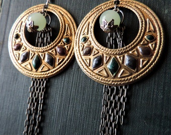 Assemblage Earrings - Jade Glass, Vintage Gold Hoops, and Pewter Chain