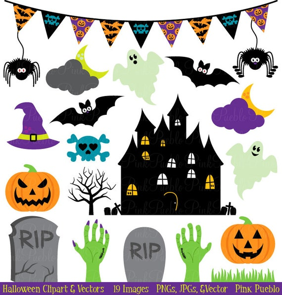 halloween clipart clip art great for halloween decor or decorations commercial use - Commercial Halloween Decorations