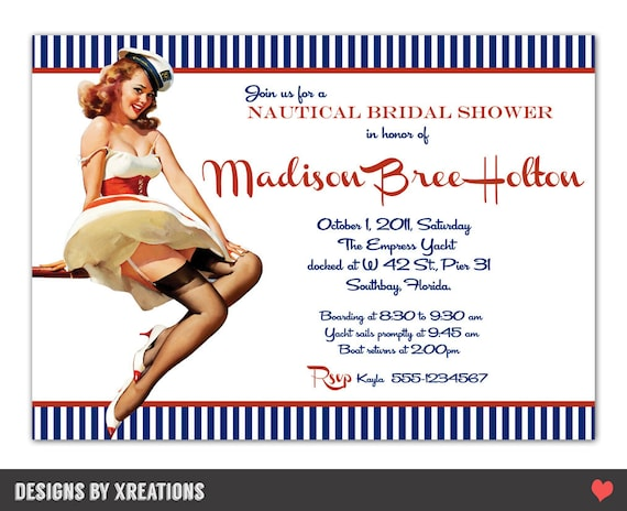 Retro Pinup Girl Nautical Themed Invitation - Customizable Wordings - Print-your-own