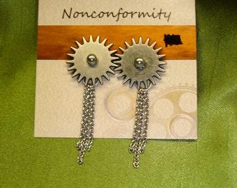 Silver Cog Earrings