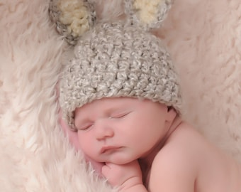 Baby Bunny Hat,  Newborn Grey Bunny Hat, Baby Easter Hat, Newborn Easter Hat,  Crochet Baby PHOTO PROP