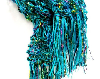 Teal Blue Knit Scarf, Fashion Scarf, Lightweight Womens Scarves, Summer Accessories
