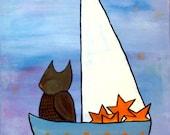 Owl in Star Sailboat Original Nursery Art Painting Woodland Childrens Decor Artwork for Kids