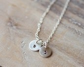 Tiny Initial Necklace - Two Initials - Tiny Circles - Handstamped Sterling Silver Circle - Dainty Delicate Everyday - Valentine's Day Gift