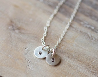 Tiny Initial Necklace - Two Initials - Tiny Circles - Handstamped Sterling Silver Circle - Dainty Delicate Everyday - Gift for Mom