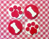 Fondant cupcake toppers Dog Bone Paw Print Puppy Party