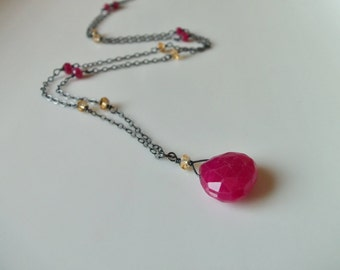 Ruby and Citrine Gemstone Necklace/Pendant  Wire Wrapped with Oxidized Sterling Silver