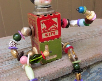 Steampunk Doll / Wooden Baby Block Doll / Frozen Charlotte Assemblage Art Doll