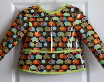 Boys Long Sleeved Art Smock Painting Smock with Blue Green and Orange Elephants