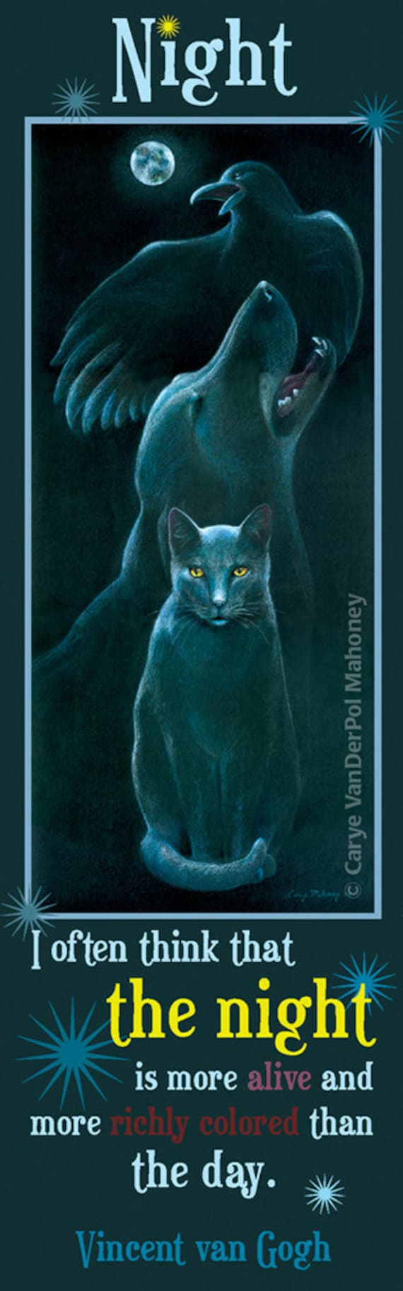 """Bookmark - Black cat, dog, and raven under a full moon with a van Gogh quote about the night - """"Familiars"""" - GREAT gift for a reader"""