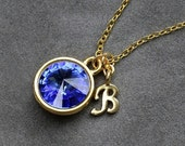 Initial Birthstone Jewelry, September Sapphire Necklace, New Mother, Bridesmaids, Gold Letter Jewelry, Initial Necklace