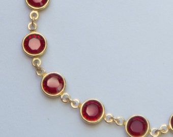 Gold Garnet Bracelet, January Birthstone Jewelry, Red Swarovski Crystal Bracelet, Red Bridesmaids Jewelry