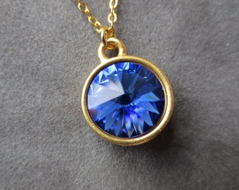 Gold Sapphire Necklace, September Birthstone Jewelry, Blue Crystal Pendant, Modern Everyday Jewelry, Birthstone Necklace