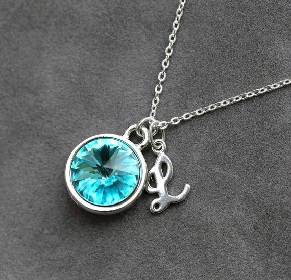 Initial Necklace for Mom December Birthstone Jewelry Blue