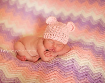 Crochet Baby Bear Beanie Hat - Newborn to 12 months - Soft Pink - MADE TO ORDER