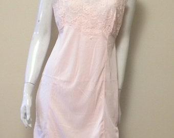Vintage Pink Nylon Lace Full Slip Size 34 Mint