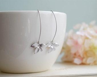 Silver Orchid Earrings. Matte Silver Flower Long Dangle Earrings. Modern Everyday Earrings. Silver Bridal Earrings, Bridesmaid Gift