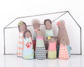 Dollhouse Handmade Family Dolls ,Grandparents, parents & children, Modern African Family in Mint Peach Pastel Shades, 12th scale Miniature