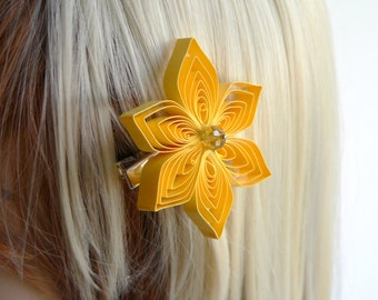Yellow Hair Clip, Yellow Hair Flower, Sunbeam Wedding Hair Accessory, Sunbeam Wedding